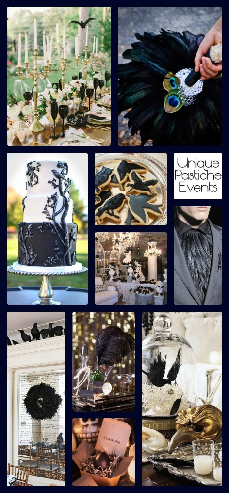 Luxurious Halloween Wedding – with Ravens - by Unique Pastiche Events |Learn more about the ideas seen in this idea board: https://uniquepasticheevents.com/2015/10/28/luxurious-halloween-wedding-with-ravens/