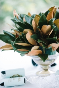 Magnolia Leaves in a Silver Bowl Centerpiece – shared on Elizabeth Anne Designs