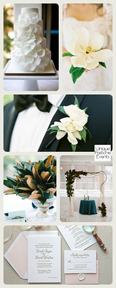 Modern Magnolia Wedding by Unique Pastiche Events | Learn more about this wedding inspiration board: https://uniquepasticheevents.com/2015/10/21/modern-magnolia-wedding-ideas/