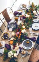 Rustic Fall Tablescape with Purple Accents – shared on Liz Marie in a roundup post