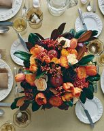 Pomegranate, Tulip, and Rose Arrangement – shared on Martha Stewart