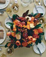 Pomegranate, Tulip, and Rose Arrangement – shared on Martha Stewart