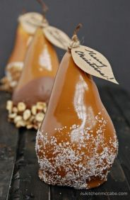 Caramel Dipped Pears – recipe shared on Just Between Friends