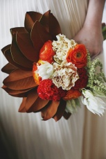Eclectic Magnolia Leaf Wedding Bouquet – shared on the Style Me Pretty vault