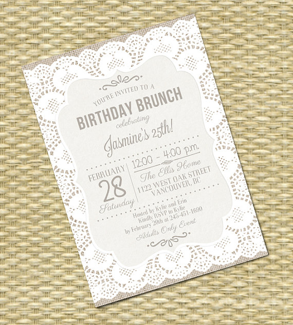 Rustic Burlap Lace Birthday Invitation – created and sold by SunshinePrintables on Etsy