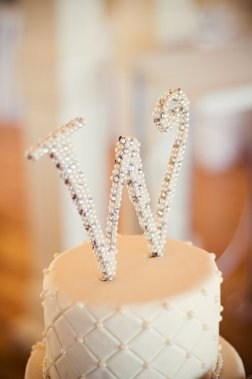 6 Inch Pearl and Rhinestone Monogram Cake Topper – created and sold by hotpinkhannah on Etsy