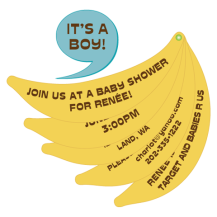 Banana Baby Shower Invitation – shared in a roundup post on Invitesbaby.com
