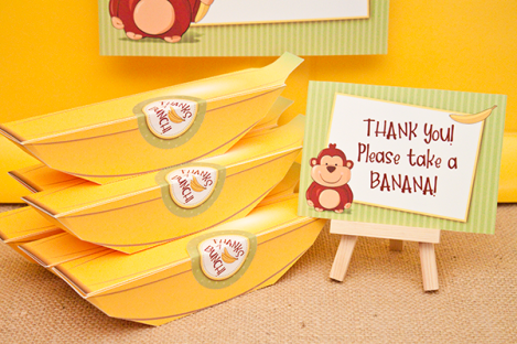 Banana Party Favor Box – shared on Oink! The Blog of Piggy Bank Parties