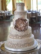 Champagne Bubbles Metallic Wedding Cake – created and shared by Sugarland