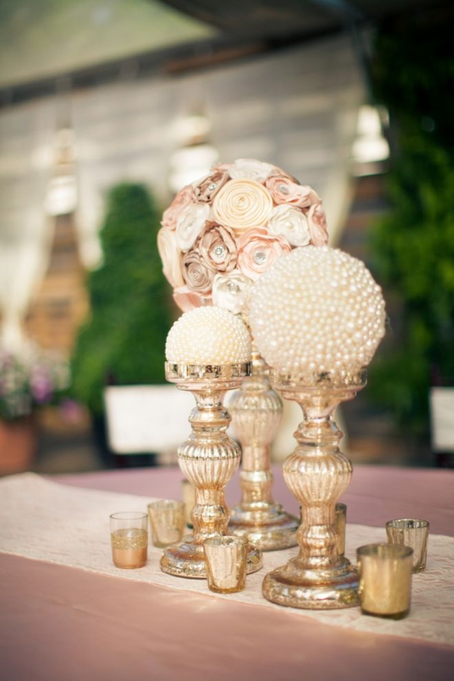 Champagne flowers and pearl gold centerpieces shared on
