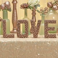 Embellished Rose Gold Letters for Wedding Décor Tutorial – shared on Fancy Pants Weddings