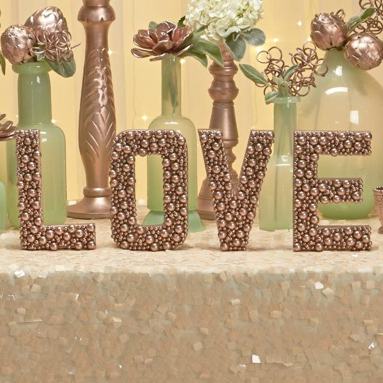 Gold Wedding Decor Ideas: Embellished Rose Gold Letters For Wedding Décor Tutorial