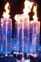 Fire Displays in Ice Sculpture Columns – spotted on Pinterest