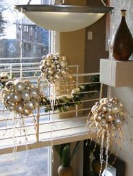 Gold Christmas Ornament Hanging Sphere Sculptures – spotted on Pinterest