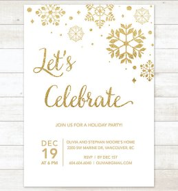 Gold Snowflake Holiday Party Printable Invitation – created and sold by pinkdahliaprintable on Etsy