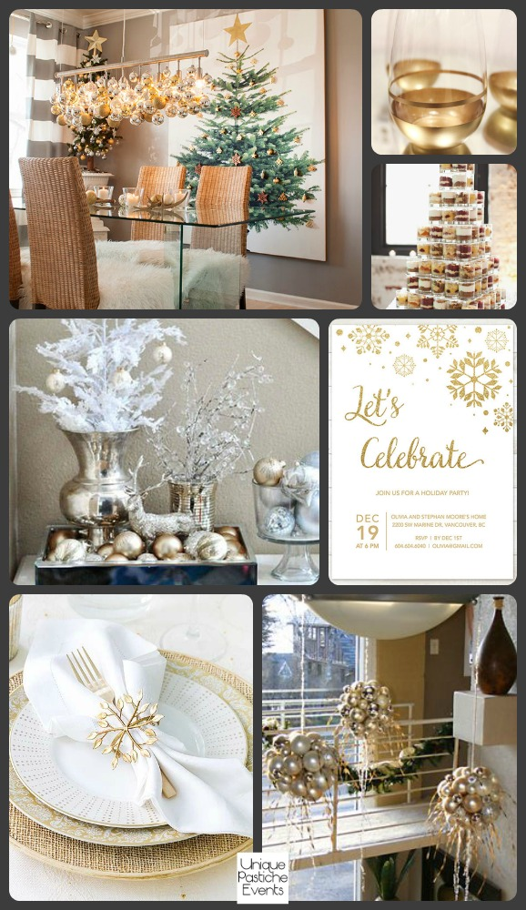 Modern Gold and White Holiday Dinner Party