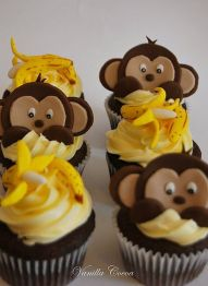 Monkey and Banana Cupcakes – shared by Cocoa Claudia on Flickr