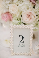 Pearl Table Number Frame – shared on Elizabeth Ann Designs