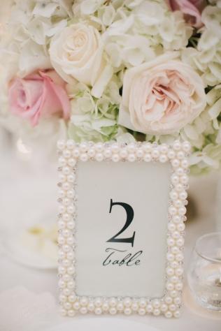 Pearl Table Number Frame – shared on Elizabeth Ann Designs