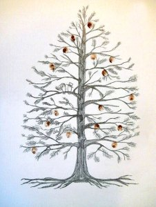Pine Tree Fingerprint Wedding Guest Book – created and sold by AlwaysAboveandBeyond on Etsy