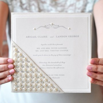 Silk Pocket, Pearl and Crystal Rhinestone Glamorous Wedding Invitation – part of the Elizabeth Collection by EngagingPapers sold on Etsy