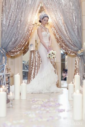 Silver Metallic Mesh and Champagne Sequin Wedding Ceremony Alter – shared as a styled shoot on WedLuxe