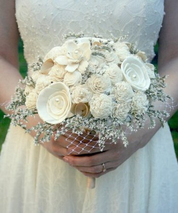 Soft White Wildflower Handmade Alternative Wedding Bouquet – created and sold by TheSunnyBee on Etsy