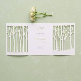 White Woodland Lace Wedding Invitations – created and sold by PerfectFavours on Etsy