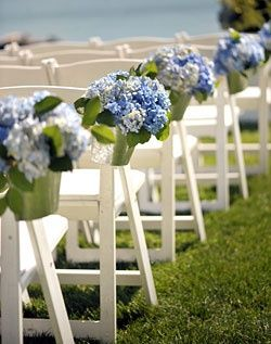 Blue and Purple Hydrangea Wedding Aisle Décor - spotted on Pinterest