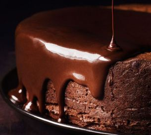 Darkest Chocolate Cake with Red Wine Glaze - Recipe shared by Bon Appetit
