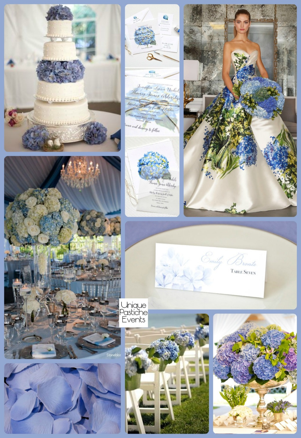 Elaborate Serenity Blue Hydrangea Wedding Ideas by Unique Pastiche Events Read the full post: https://uniquepasticheevents.com/2016/01/06/elaborate-serenity-blue-hydrangea-wedding-ideas/