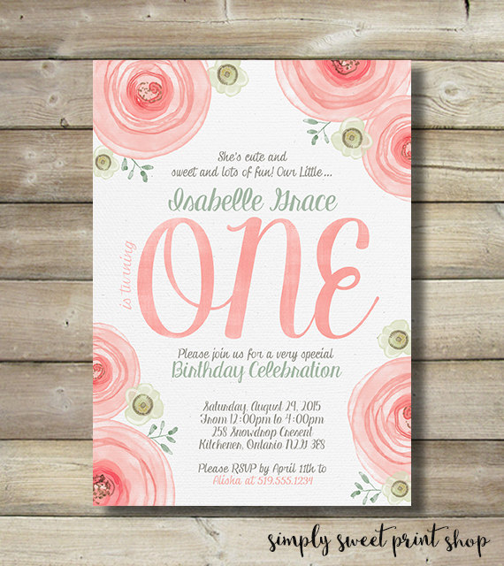 Invitations first birthday girl gallery coloring pages adult girls first birthday one party invitation with watercolor roses stopboris Choice Image
