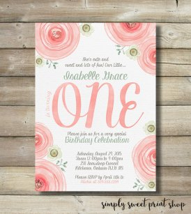 Girl's First Birthday ONE Party Invitation with Watercolor Roses – created and sold by SimplySweetPrintShop on Etsy