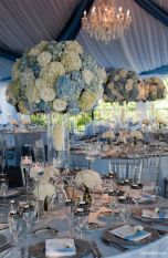 Lavish Blue and White Wedding Reception Table Centerpieces and Décor – shared in a roundup post on MODWEDDING