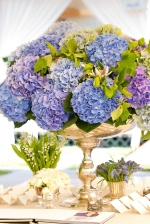 Serenity Blue Hydrangea Floral Arrangement – shared in a roundup post on MODWEDDING
