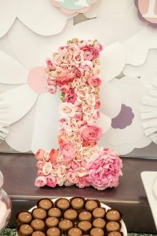 Soft Rose Quartz Floral Rose Birthday Number One – shared on Kara's Party Ideas
