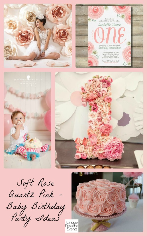 Soft Rose Quartz Pink – Baby Birthday Party Ideas Check out the full post for all the details: https://uniquepasticheevents.com/2016/01/13/soft-rose-quartz-pink-baby-birthday-party-ideas/