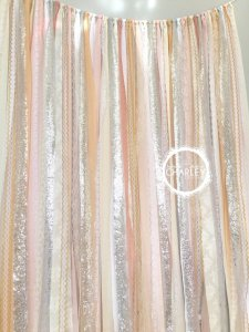 Blush, Nude, Rose Quartz, Peach, with Silver Sparkle Sequin Fabric Ribbon Backdrop – created and sold by ohMYcharley on Etsy