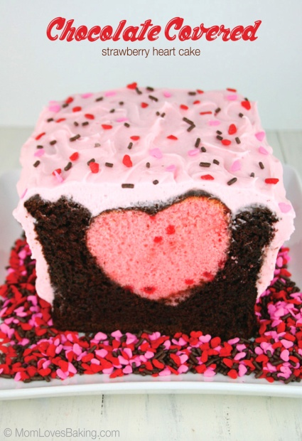 Chocolate Covered Strawberry Heart Cake Surprise Cake – tutorial and recipe shared on Mom Loves Baking