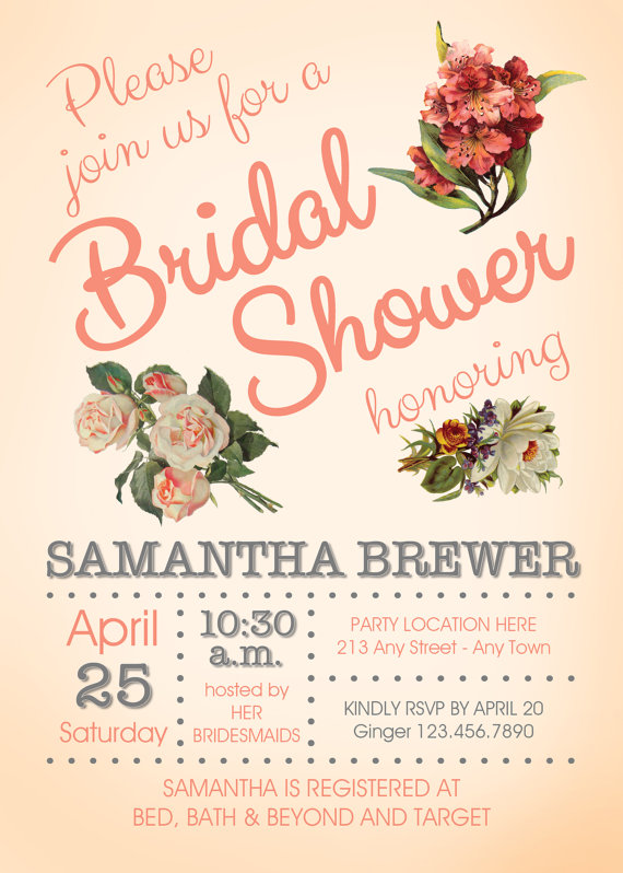 country chic peach blossom bridal shower invitation created and sold by lifeonpurpose on etsy