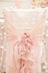Flowy Pink Chair Cover Decorations – shared by Elegant Wedding