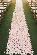 Light Pink Rose Petal Wedding Aisle Runway – shared on Style Me Pretty
