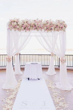 Pale Pink Floral and Ivory Wedding Chuppah Alter – shared by Andrea Eppolito Weddings Events
