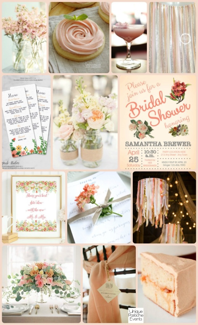 Spring Peach Blossoms and Ribbon Bridal Shower Party Ideas