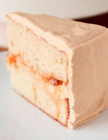 Peach Filled Cake with Dulce de Leche Buttercream Recipe – shared by Smells Like Home