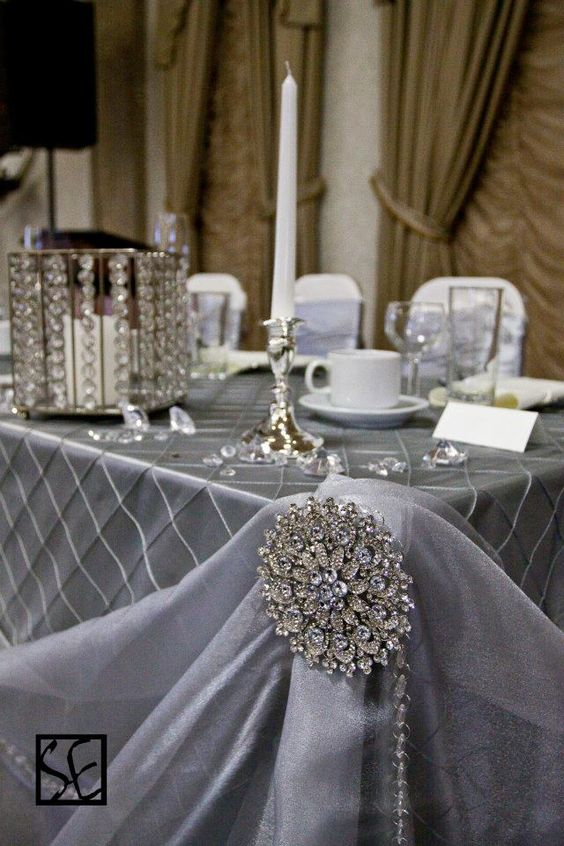 pin tuck silver tablecloth with crystal accents shared by cv