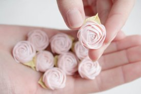 Pink and White Wedding Favor Rose Magnets – created and sold by EtenIren on Etsy