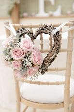 Pink Rose Heart Shaped Wreath Wedding Chair Decorations – share by Bridal Musings