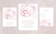 Pink Rose Printable Wedding Invitation Suite – created and sold by GardenofLovebyFarrah on Etsy