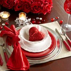 Red and White Valentine's Day Place Setting – shared by Pier 1 Imports on Pinterest